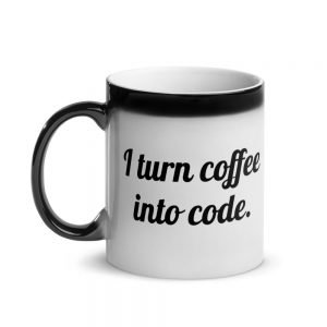 I turn coffee info code coffee mug